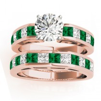 Diamond and Emerald Accented Bridal Set 18k Rose Gold 2.20ct