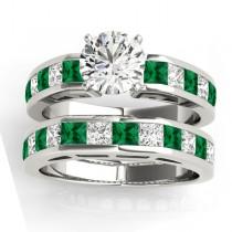 Diamond and Emerald Accented Bridal Set Platinum 2.20ct