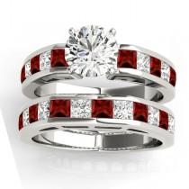 Diamond and Garnet Accented Bridal Set 14k White Gold 2.20ct