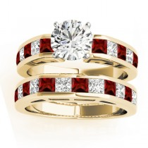 Diamond and Garnet Accented Bridal Set 14k Yellow Gold 2.20ct