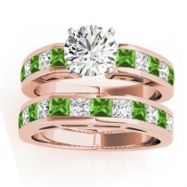 Diamond and Peridot Accented Bridal Set 14k Rose Gold 2.20ct
