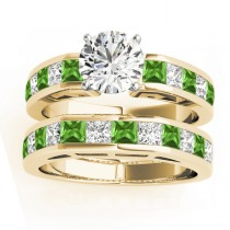 Diamond and Peridot Accented Bridal Set 14k Yellow Gold 2.20ct