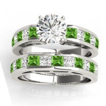 Diamond and Peridot Accented Bridal Set Palladium 2.20ct