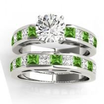 Diamond and Peridot Accented Bridal Set Platinum 2.20ct