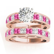 Diamond and Pink Sapphire Accented Bridal Set 14k Rose Gold 2.20ct