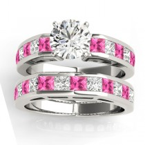 Diamond and Pink Sapphire Accented Bridal Set 14k White Gold 2.20ct