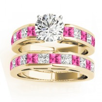 Diamond and Pink Sapphire Accented Bridal Set 14k Yellow Gold 2.20ct
