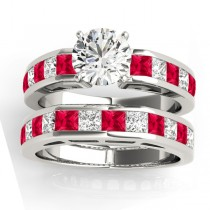 Diamond and Ruby Accented Bridal Set 14k White Gold 2.20ct
