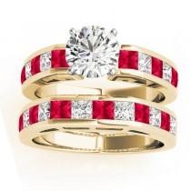 Diamond and Ruby Accented Bridal Set 14k Yellow Gold 2.20ct