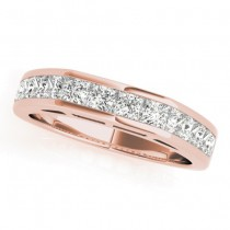 Diamond Princess-cut Channel Wedding Band 14k Rose Gold 1.20ct