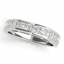 Diamond Princess-cut Channel Wedding Band 14k White Gold 1.20ct