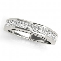 Diamond Princess-cut Channel Wedding Band 18k White Gold 1.20ct