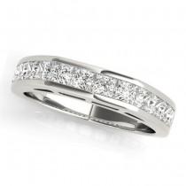 Diamond Princess-cut Channel Wedding Band 18k White Gold 1.20ct