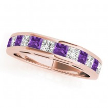 Diamond and Amethyst Accented Wedding Band 14k Rose Gold 1.20ct