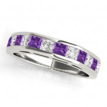 Diamond and Amethyst Accented Wedding Band 14k White Gold 1.20ct