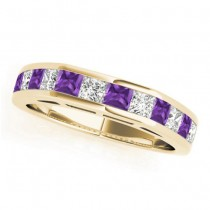 Diamond and Amethyst Accented Wedding Band 14k Yellow Gold 1.20ct