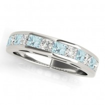 Diamond and Aquamarine Accented Wedding Band 14k White Gold 1.20ct