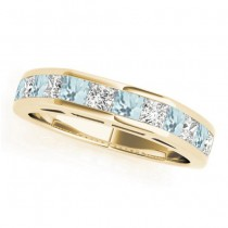 Diamond and Aquamarine Accented Wedding Band 18k Yellow Gold 1.20ct