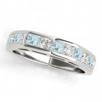 Diamond and Aquamarine Accented Wedding Band Platinum 1.20ct