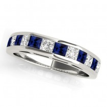 Diamond and Blue Sapphire Accented Wedding Band 14k White Gold 1.20ct
