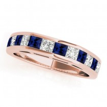 Diamond and Blue Sapphire Accented Wedding Band 18k Rose Gold 1.20ct