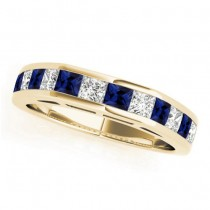 Diamond and Blue Sapphire Accented Wedding Band 18k Yellow Gold 1.20ct