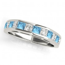 Diamond and Blue Topaz Accented Wedding Band 14k White Gold 1.20ct