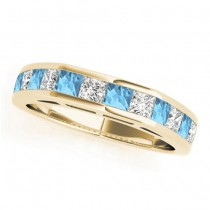 Diamond and Blue Topaz Accented Wedding Band 14k Yellow Gold 1.20ct