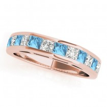 Diamond and Blue Topaz Accented Wedding Band 18k Rose Gold 1.20ct