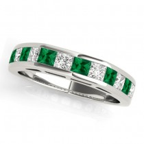 Diamond and Emerald Accented Wedding Band 14k White Gold 1.20ct