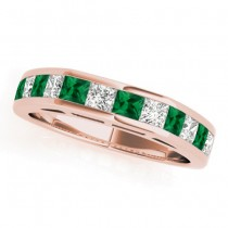 Diamond and Emerald Accented Wedding Band 18k Rose Gold 1.20ct