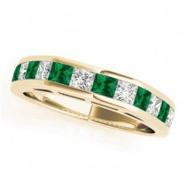 Diamond and Emerald Accented Wedding Band 18k Yellow Gold 1.20ct