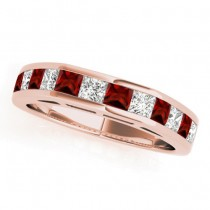 Diamond and Garnet Accented Wedding Band 18k Rose Gold 1.20ct
