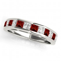 Diamond and Garnet Accented Wedding Band 18k White Gold 1.20ct
