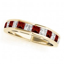 Diamond and Garnet Accented Wedding Band 18k Yellow Gold 1.20ct