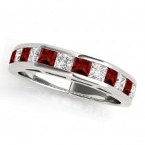 Diamond and Garnet Accented Wedding Band Palladium 1.20ct