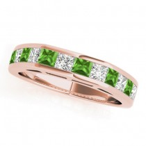 Diamond and Peridot Accented Wedding Band 18k Rose Gold 1.20ct