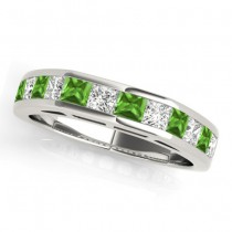 Diamond and Peridot Accented Wedding Band 18k White Gold 1.20ct