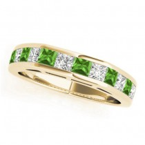 Diamond and Peridot Accented Wedding Band 18k Yellow Gold 1.20ct