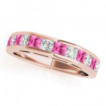 Diamond and Pink Sapphire Accented Wedding Band 14k Rose Gold 1.20ct