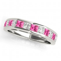 Diamond and Pink Sapphire Accented Wedding Band 14k White Gold 1.20ct
