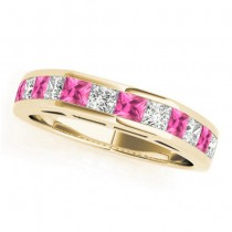 Diamond and Pink Sapphire Accented Wedding Band 14k Yellow Gold 1.20ct