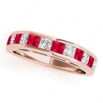 Diamond and Ruby Accented Wedding Band 18k Rose Gold 1.20ct