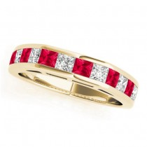Diamond and Ruby Accented Wedding Band 18k Yellow Gold 1.20ct