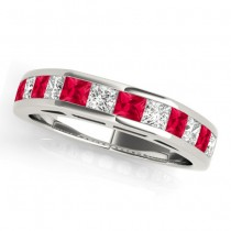Diamond and Ruby Accented Wedding Band Platinum 1.20ct