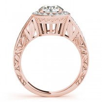 Antique Infinity Halo Diamond Bridal Ring Set 14k Rose Gold (1.80ct)