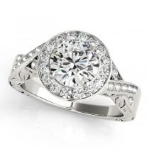 Antique Infinity Halo Diamond Bridal Ring Set 14k White Gold (1.80ct)