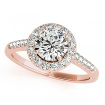 Halo Round Diamond Engagement Ring 14k Rose Gold (1.38ct)