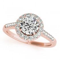 Halo Round Diamond Engagement Ring 18k Rose Gold (1.38ct)