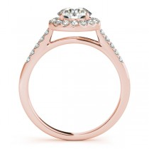 Halo Round Diamond Engagement Ring 18k Rose Gold (1.38ct)
